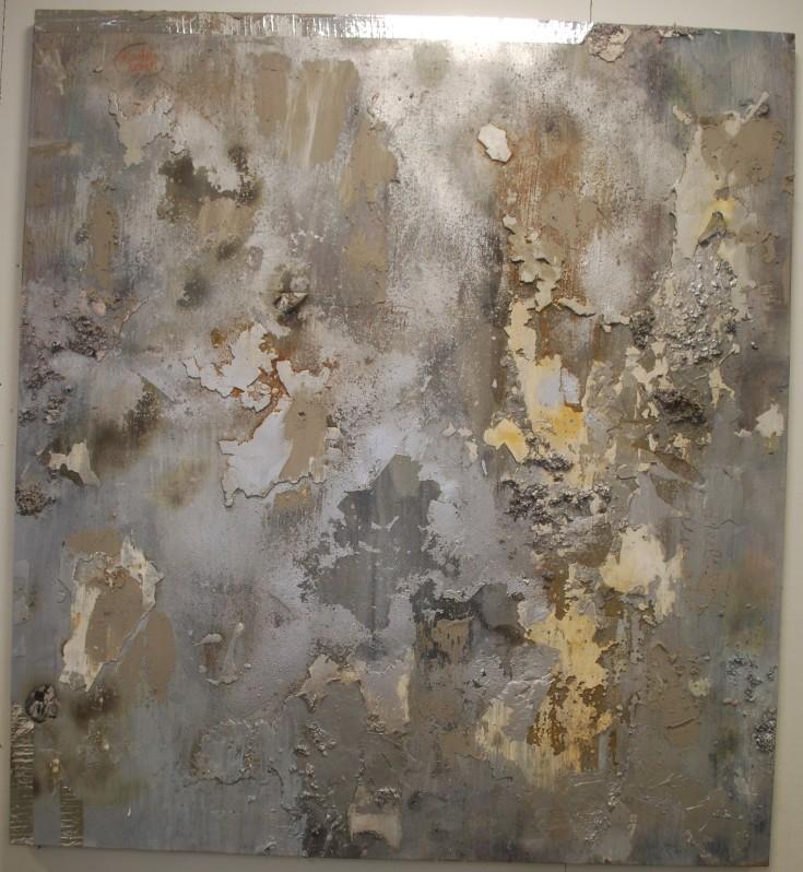 """Industrial Skin"", Mixed Medium, 67"" x 61"", 2014"