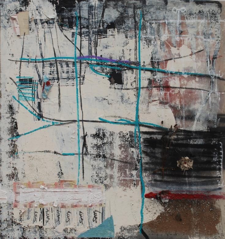 """Sorry"", mixed medium, 52"" x 48"", 2015"